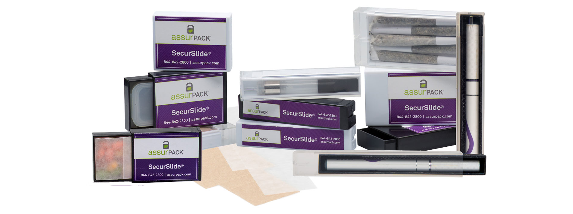 AssurPACK SecurSlide®. Preroll, concentrate, and vape cartridge packaging